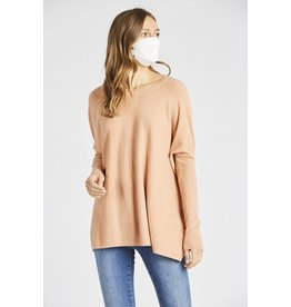 Gillian- Over-Sized Sweater Top in Burnt Coral