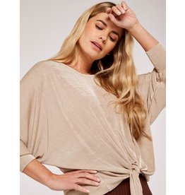 Apricot Elizabeth- Knot Front Top in Stone
