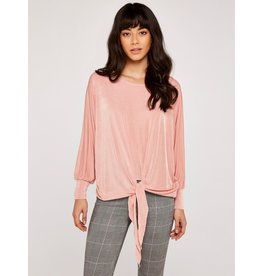 Apricot Elizabeth- Knot Front Top in Pink