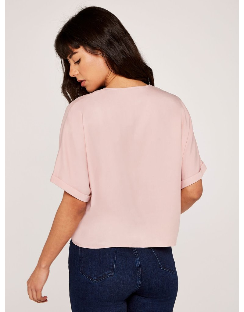 Apricot Pink Button Down Knot Front Top