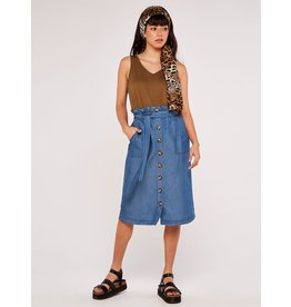 Apricot Denim Paperbag Button Skirt