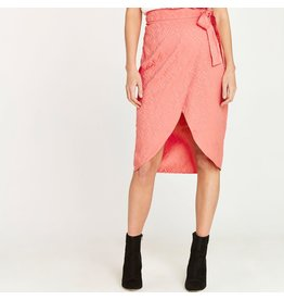 Apricot Jacquard Wrap Skirt