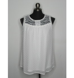 Papillon Hannah - Swiss Dot Blouse w/ Lace Yoke