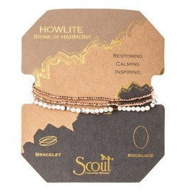 Scout Delicate Stone Necklace/Bracelet -Howlite/Rose Gold