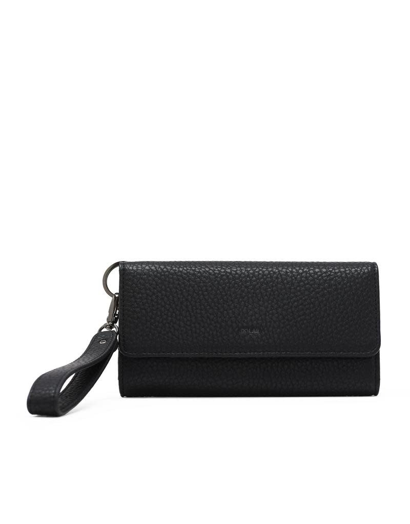 CoLab Tri Fold Wallet with Strap Black