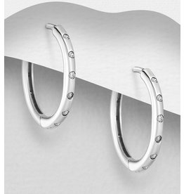 Sterling Sterling Hoops W.Cz Inlay