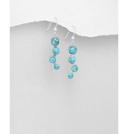 Sterling Drops- Turquoise Circles