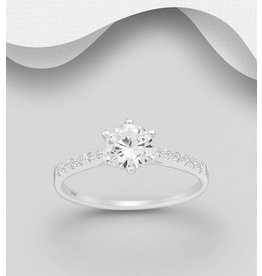 Sterling CZ Solitaire Ring
