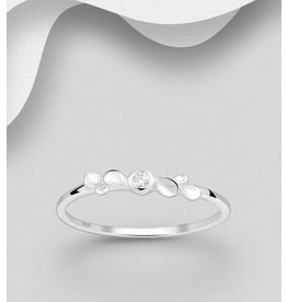Sterling Ring-  CZ With Matte Silver
