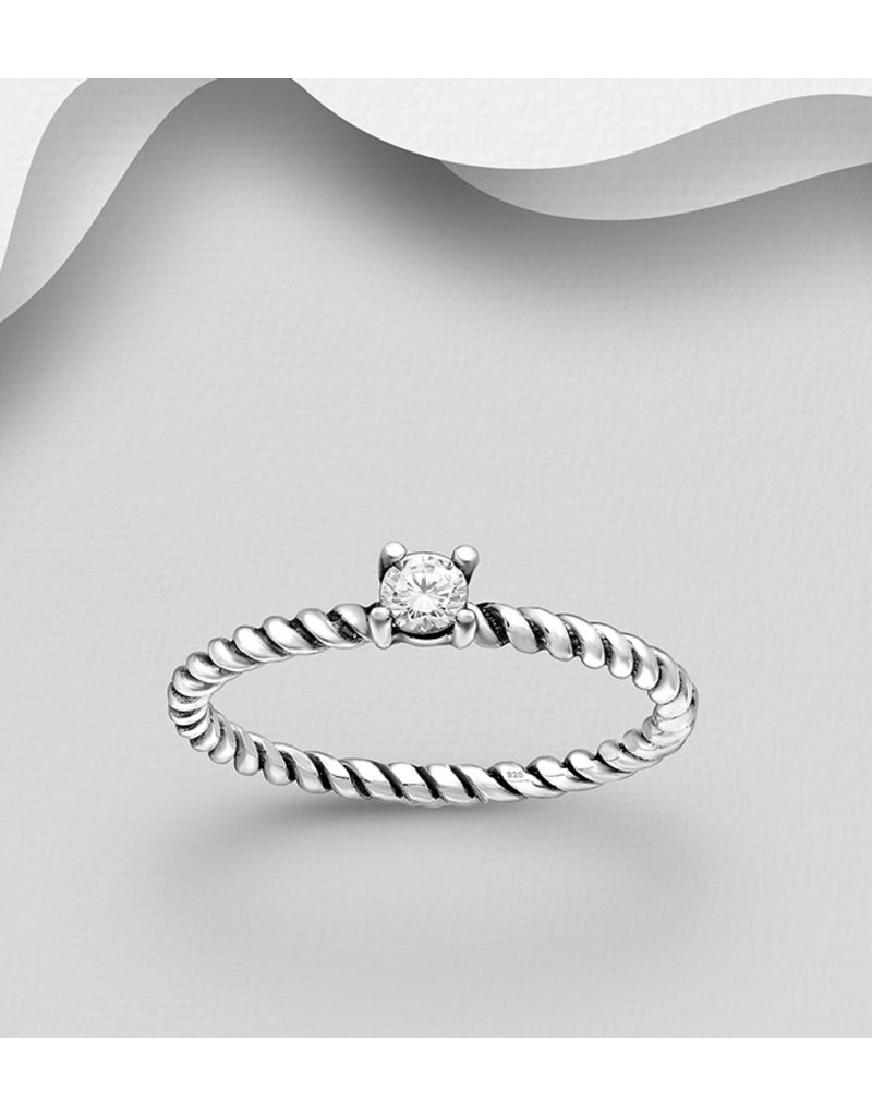 Sterling Cubic Ring With Twisted Band