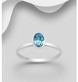 Sterling Swarovski Oval Ring