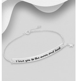 Sterling Bracelet-Love You to the Moon and Back