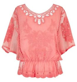 Apricot Embroidered Flowers Batwing Top