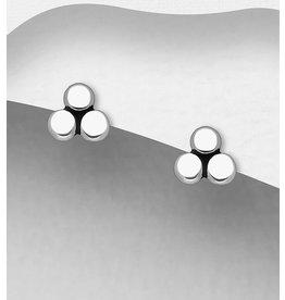 Sterling Triple Dots Triangle Studs Earrings