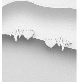 Sterling Heartbeat Stud Earrings
