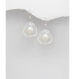 Sterling Sterling Pearl Woven Circle Drops