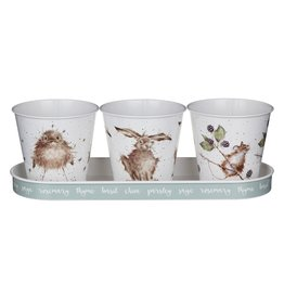 WRENDALE Set of 3 Herb Pots/W Tray - Mouse, Chick, Hare