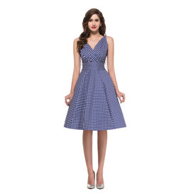 Envious Fashion Eleanor Blue Polka Dot Swing Dress