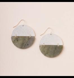 Scout Full Moon Stone Earrings- Labradorite & Silver