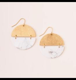 Scout Full Moon Stone Earrings- Howlite & Gold