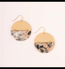 Scout Full Moon Stone Earrings- Rhodonite & Gold