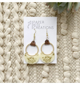Paper Kite Creations Earrings- Ivory W/Leather