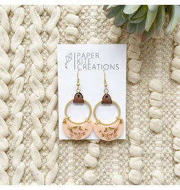 Paper Kite Creations Earrings-Pink W/Leather