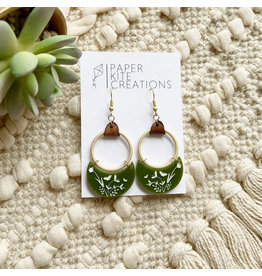 Paper Kite Creations Earrings-Green W/Leather