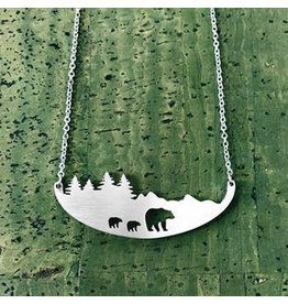 Close 2 UR Heart Three Bears Stainless Steel Necklace