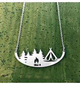 Close 2 UR Heart Tent Camping Stainless Steel Necklace