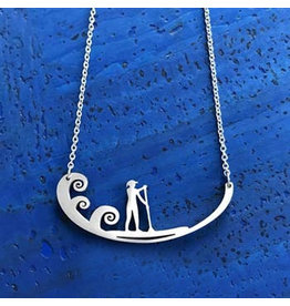 Close 2 UR Heart Paddle Board Stainless Steel Necklace