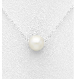 Sterling Necklace-Sterling Silver with Freshwater Pearl
