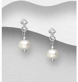 Sterling Earrings-Sterling with Crystal Glass and FW Pearl