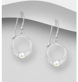 Sterling Drop Earrings- Matte Sterling Silver Circle with FW Pearl