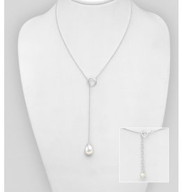 Sterling Necklace-Sterling Silver Long Circle Necklace with FW Pearl Drop
