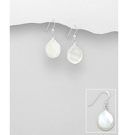 Sterling Drop Earrings-Silver Oval with Shell Inlay