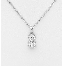 Sterling Necklace-Sterling Silver w/Double Cubic Zirconia