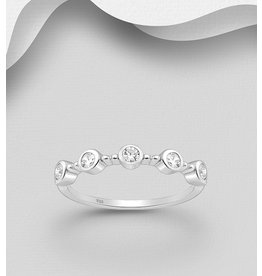Sterling Ring-Sterling Silver with Multiple Cubic Zirconia