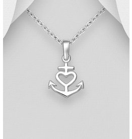 Sterling Sterling Silver Heart Anchor Pendant Necklace
