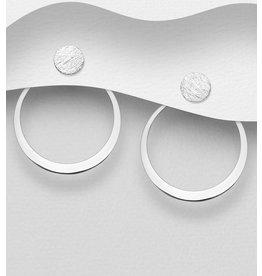 Sterling Sterling Silver Matt Circle Jacket Earrings