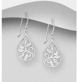 Sterling Sterling Silver Oval Leaf Drop Earrings