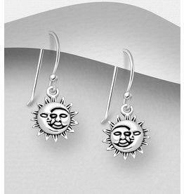 Sterling Sterling  Oxidized Moon & Sun Drop Earrings