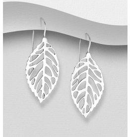 Sterling Drops-Lg. Sterling Leaf Earrings