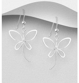 Sterling Drops-Sterling Silver Dragonfly Earrings