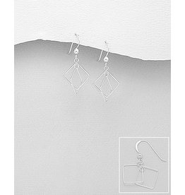 Sterling Sterling Silver Double Square Earrings