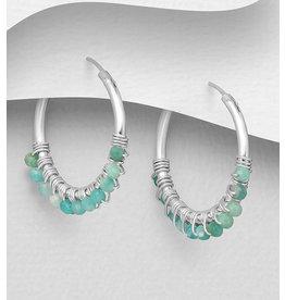 Sterling Sterling Hoops w/Amazonite Beads