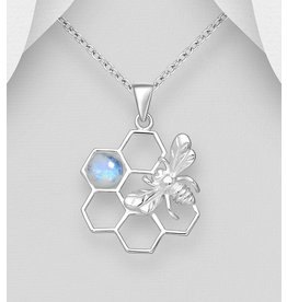 Sterling Beehive Pendant Necklace with Rainbow Moonstone