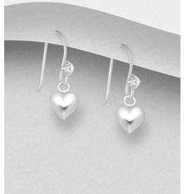 Sterling Drops-Sterling Hearts w/Crystal