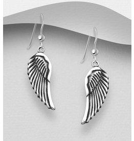 Sterling Oxidized Sterling Wing Earrings