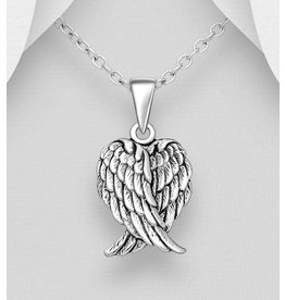 Sterling Sterling Oxidized Angel Wings Necklace